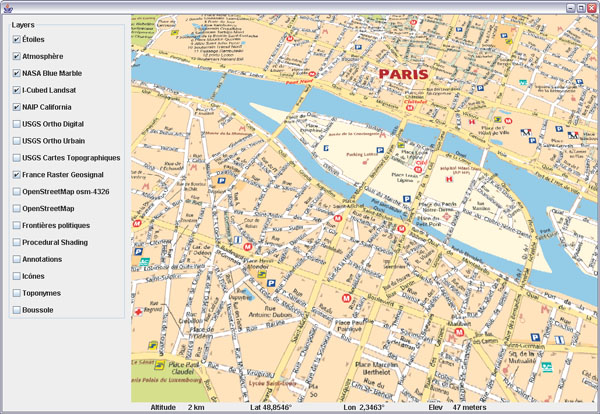 Geosignal French maps in WorldWind Java