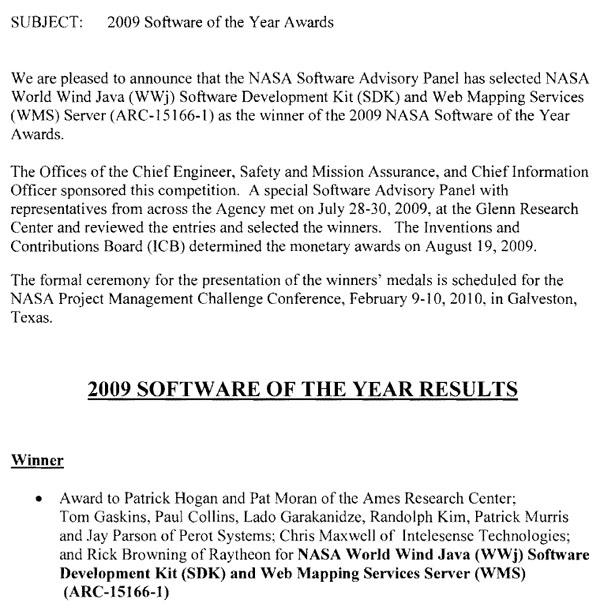 World Wind Java 2009 NASA Software Of The Year Award