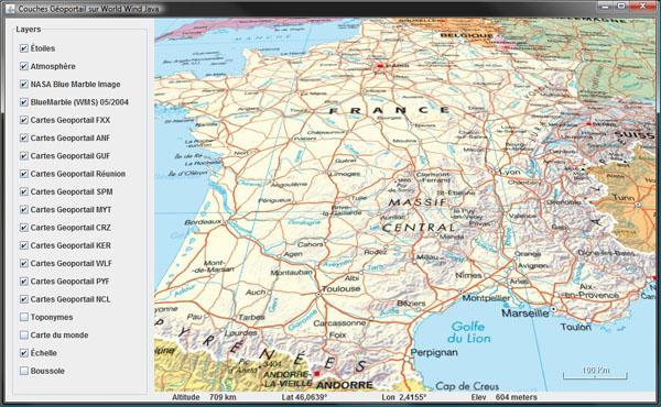 French Geoportail and NASA World Wind Java